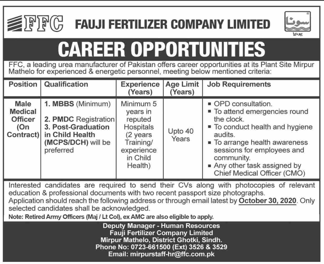 Fauji Fertilizer Company Limited Jobs October 2020