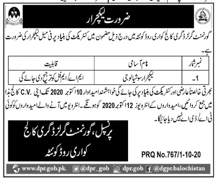 Government Girls Degree College Jobs October 2020