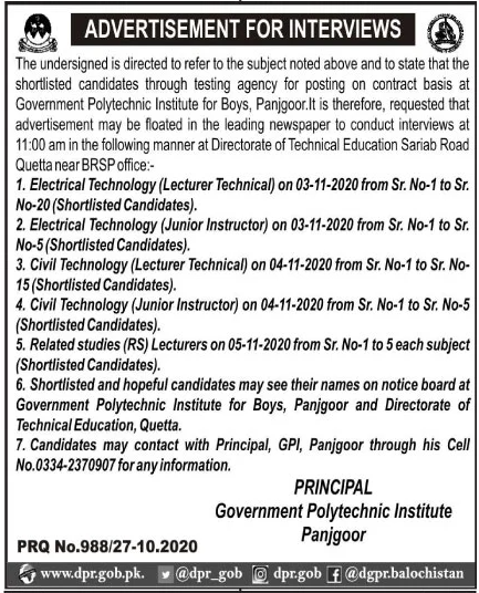 Government Polytechnic Institute Panjgoor Jobs October 2020
