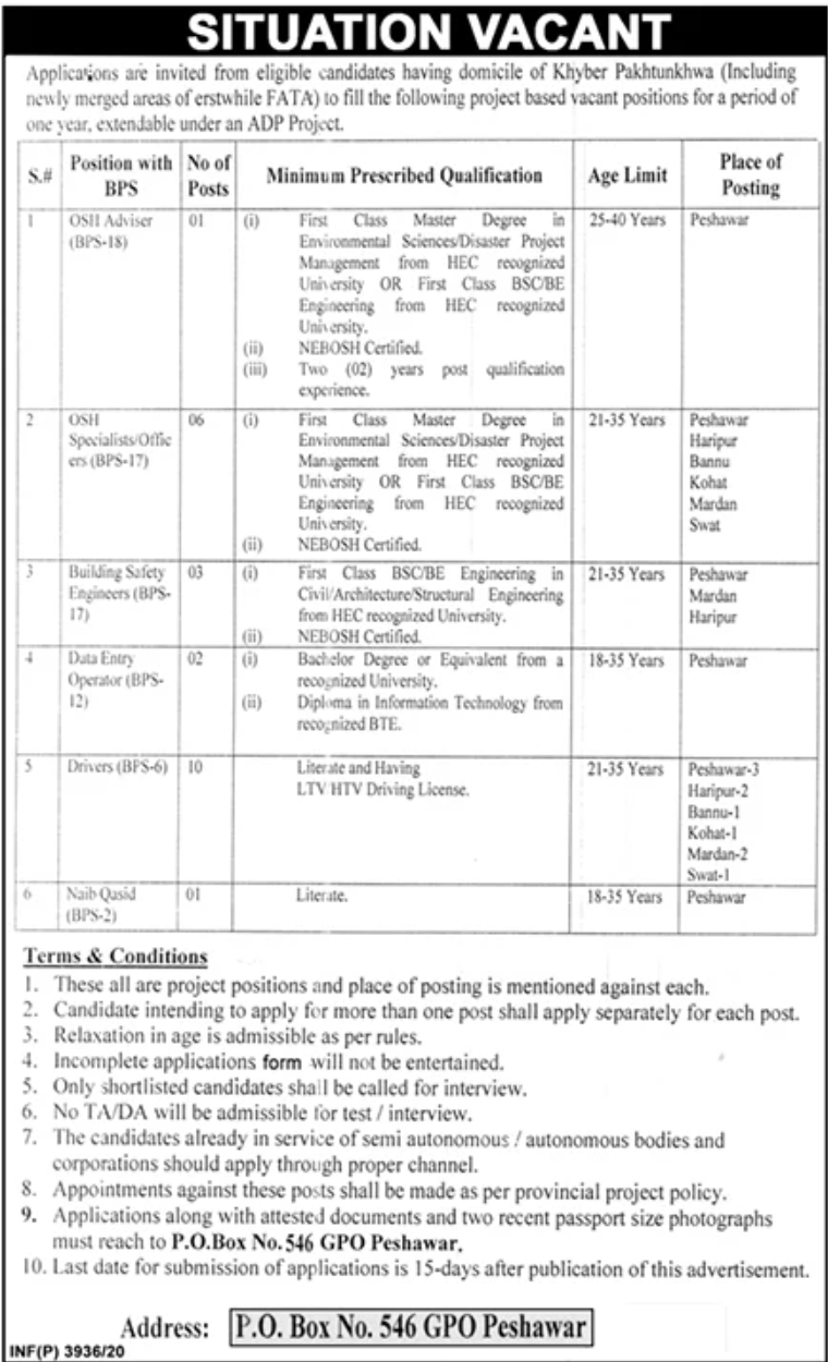 Government of Khyber Pakhtunkhwa Jobs October 2020