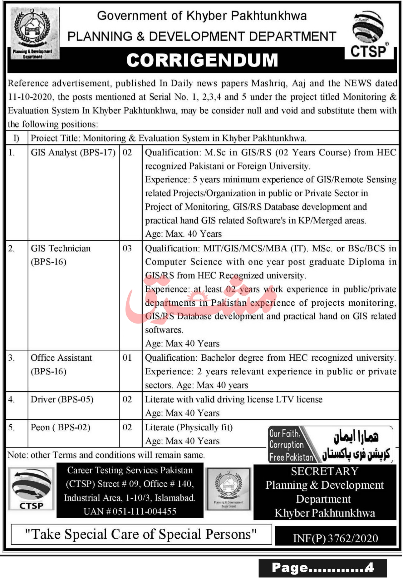 Government of Khyber Pakhtunkhwa Planning & Development Department Jobs October 2020