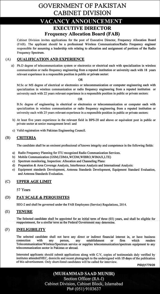 Government of Pakistan Cabinet Division Jobs October 2020