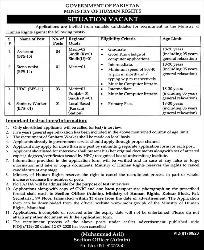 Government of Pakistan Ministry of Human Rights Jobs October 2020
