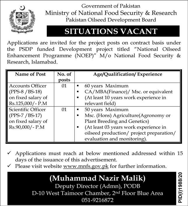 Government of Pakistan Ministry of National Food Security & Research Jobs October 2020