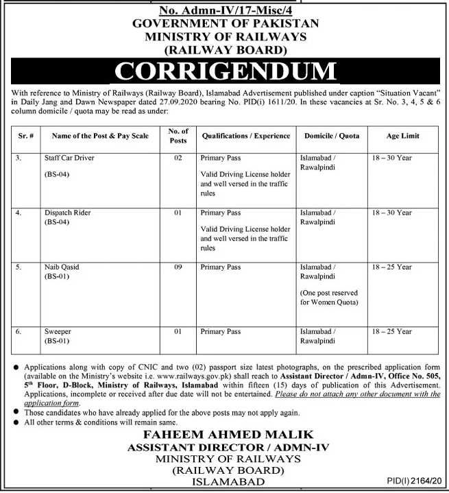 Government of Pakistan Ministry of Railways Jobs October 2020