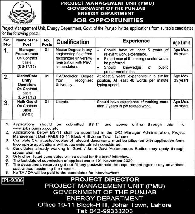 Government of the Punjab Energy Department Jobs October 2020