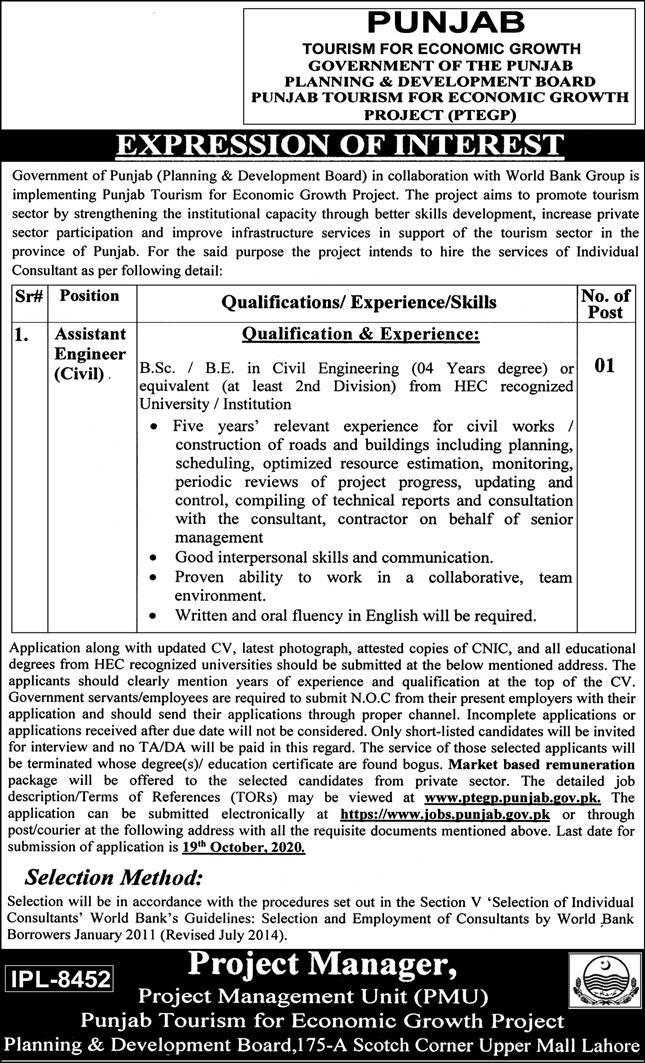 Government of the Punjab Planning & Development Board Jobs October 2020