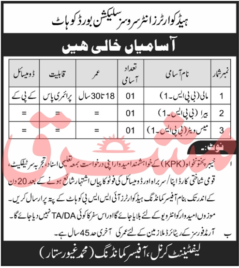 Headquarter Inter Services Selection Board Kohat Jobs October 2020