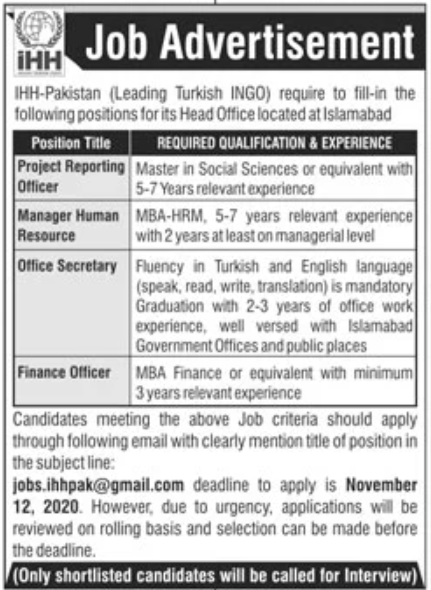 IHH-Pakistan Jobs October 2020