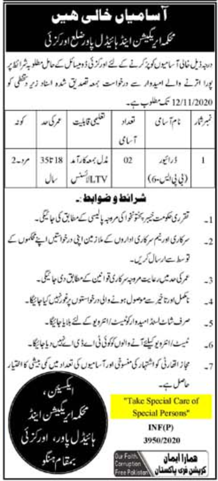 Irrigation And Power Department Jobs October 2020