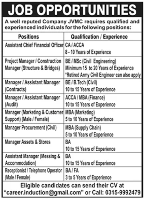 JVMC Company Jobs October 2020