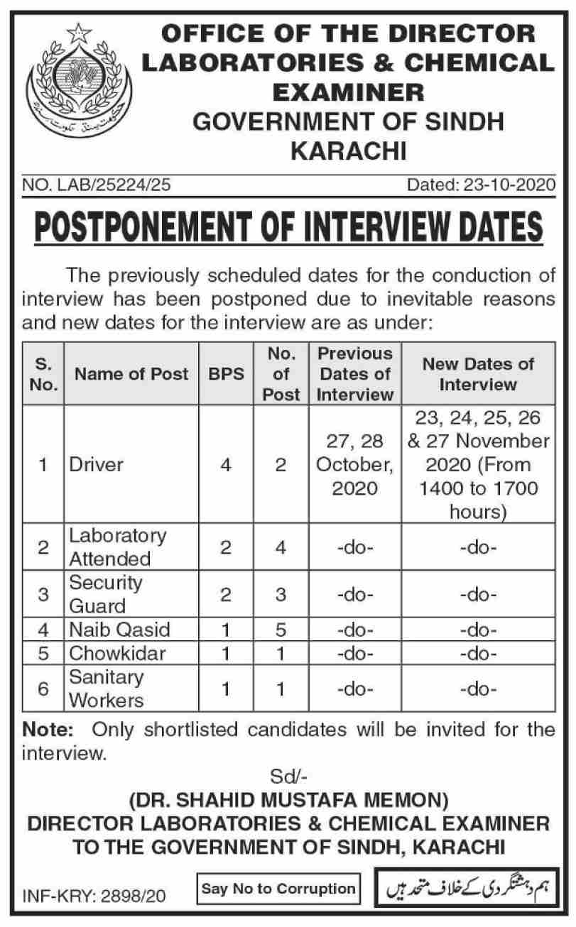 Laboratories & Chemical Examiner Government of Sindh Karachi Jobs October 2020