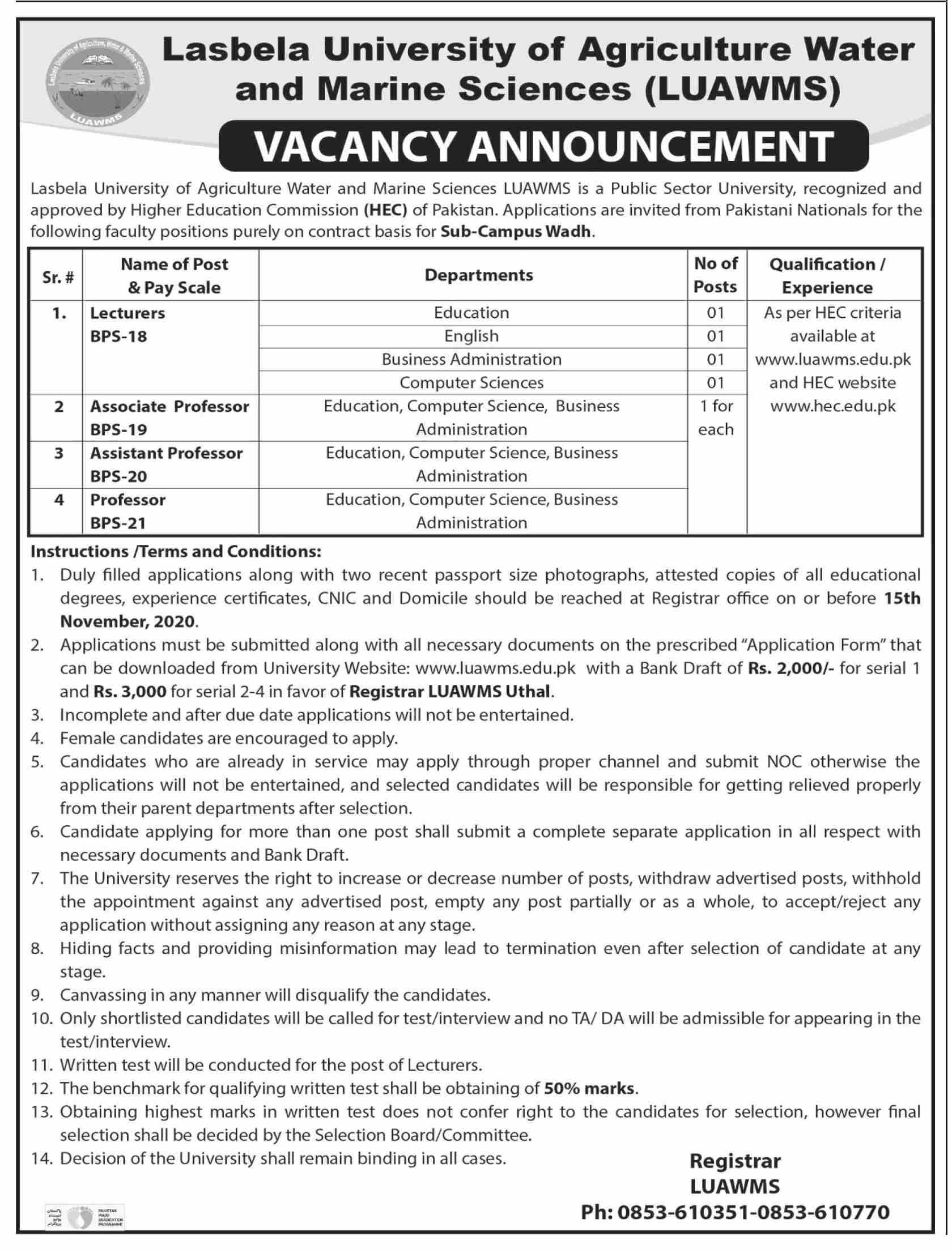 Lasbela University of Agriculture Water and Marine Sciences Jobs October 2020