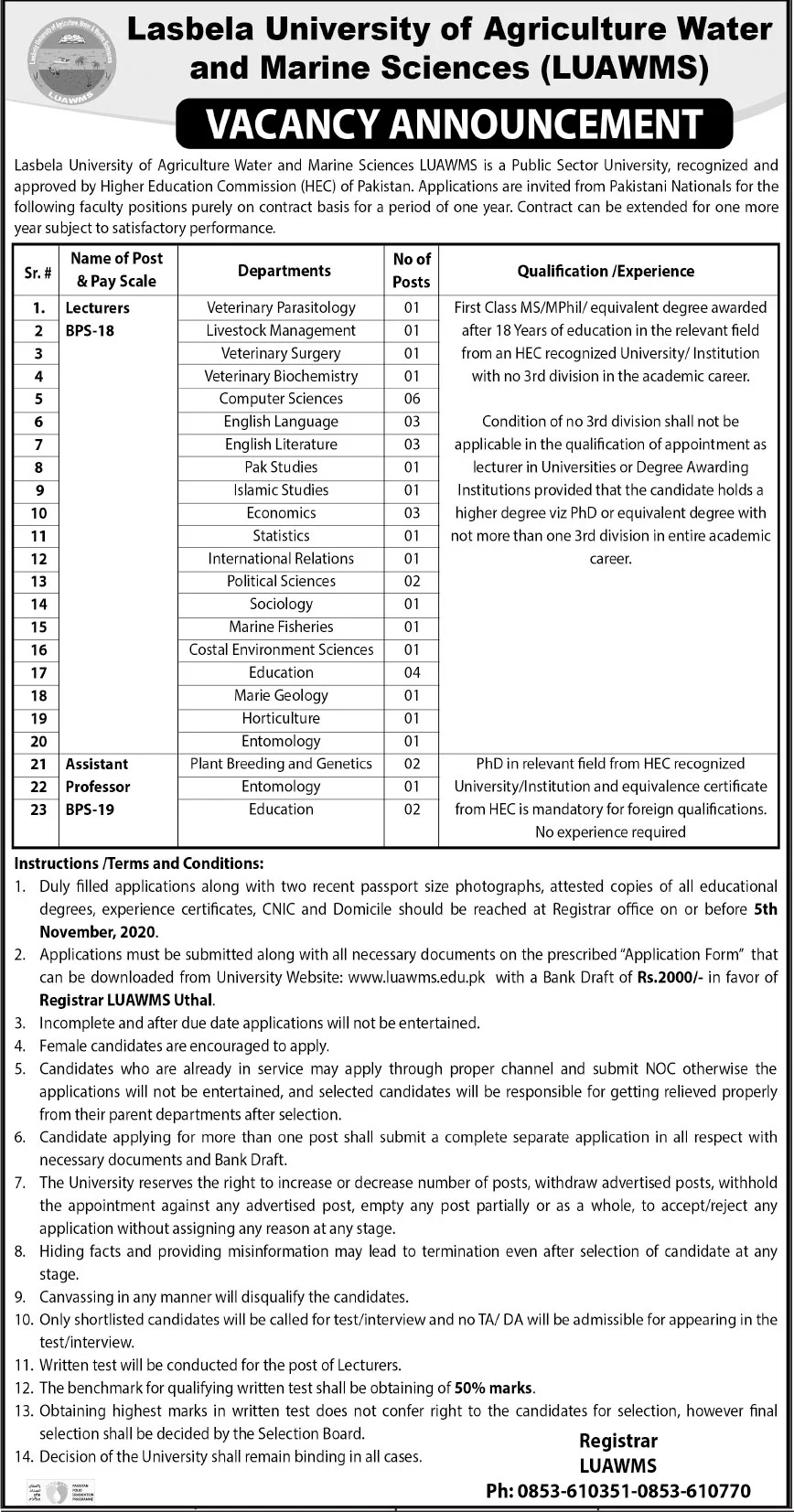 Lasbela University of Agriculture Water and Marine Sciences LUAWMS Jobs October 2020