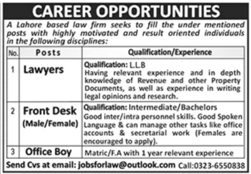 Law Firm Lahore Jobs October 2020