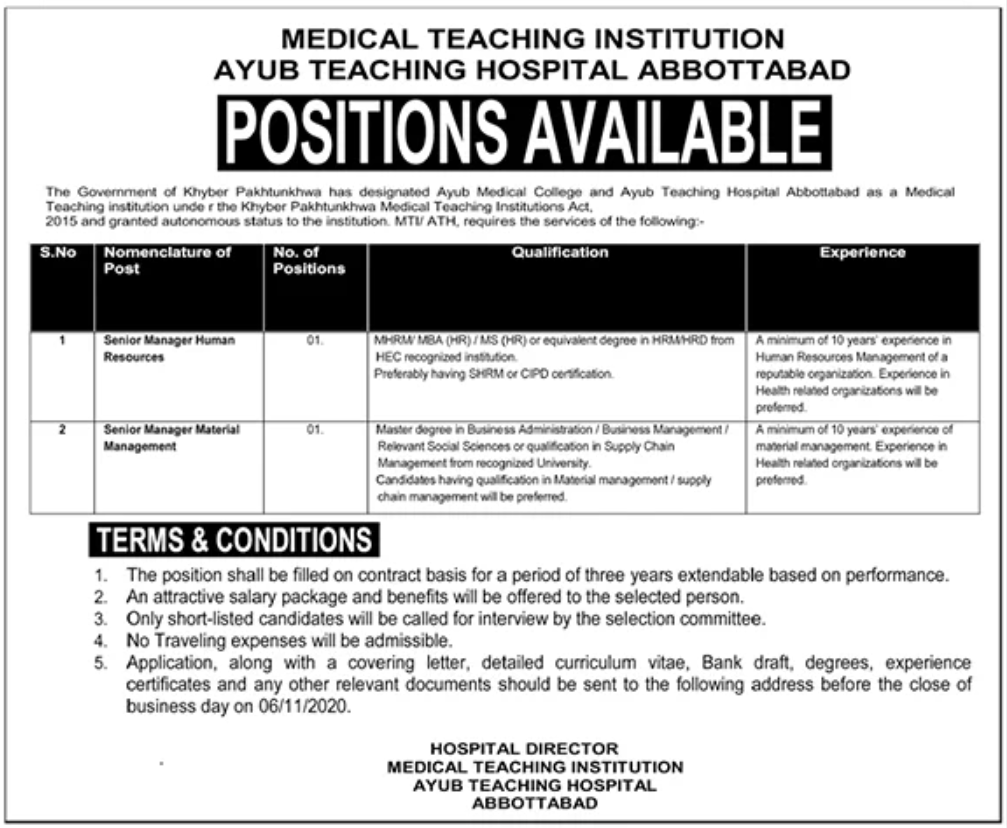Medical Teaching Institution Ayub Teaching Hospital Abbottabad Jobs October 2020