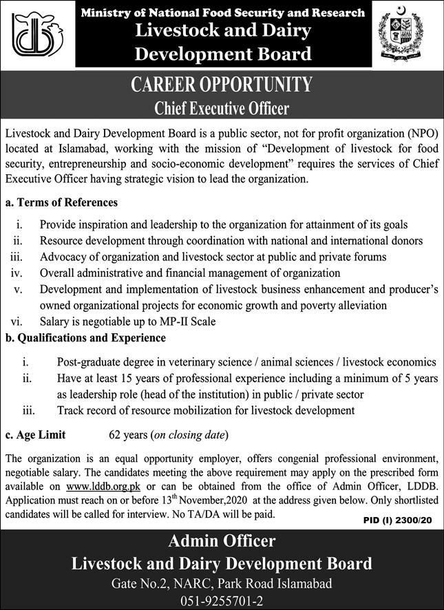 Ministry of National Food Security and Research Jobs October 2020