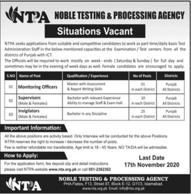 NOBLE Testing & Processing Agency NTPA Jobs October 2020