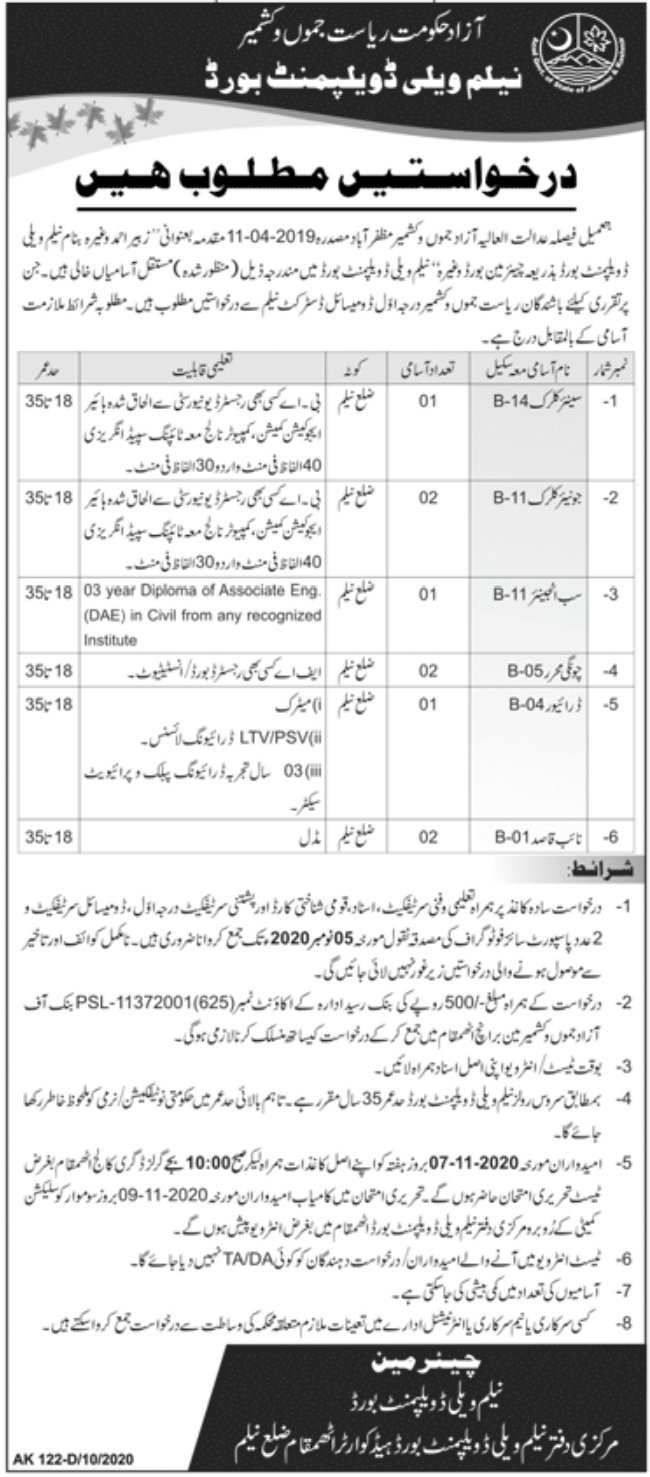 Neelam Valley Development Board Jobs October 2020
