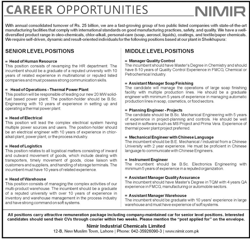 Nimir Industrial Chemicals Limited Jobs October 2020