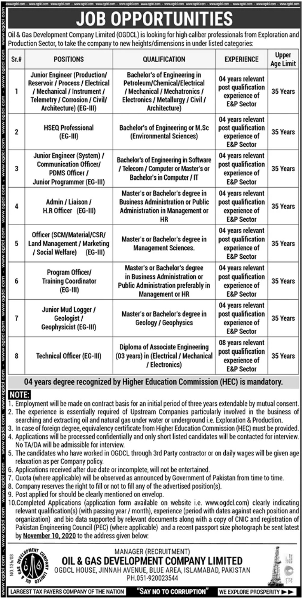 Oil & Gas Development Company Limited (OGDCL) Jobs October 2020