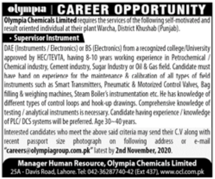 Olympia Chemicals Limited Jobs October 2020