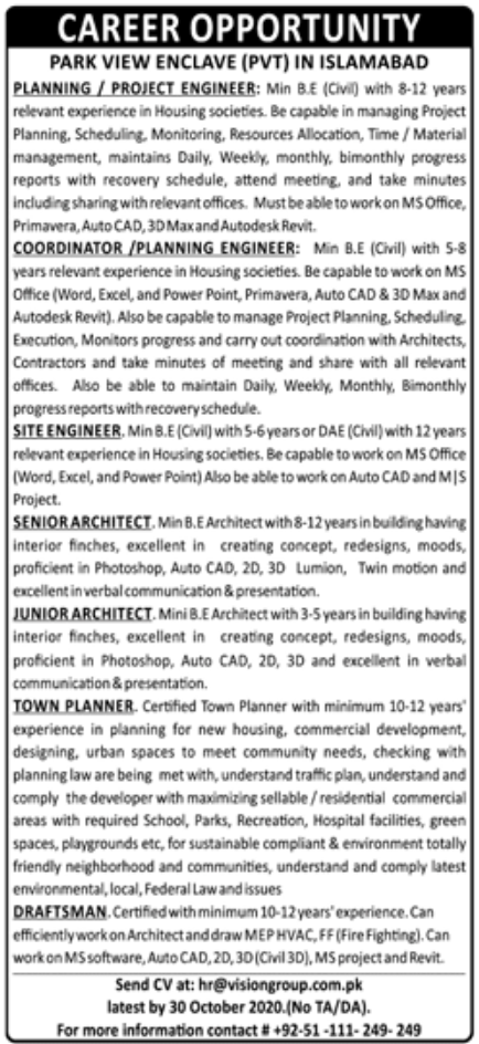 PARK View Enclave Pvt Islamabad Jobs October 2020