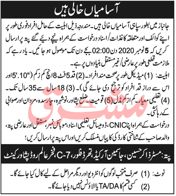 Pakistan Army Jobs October 2020