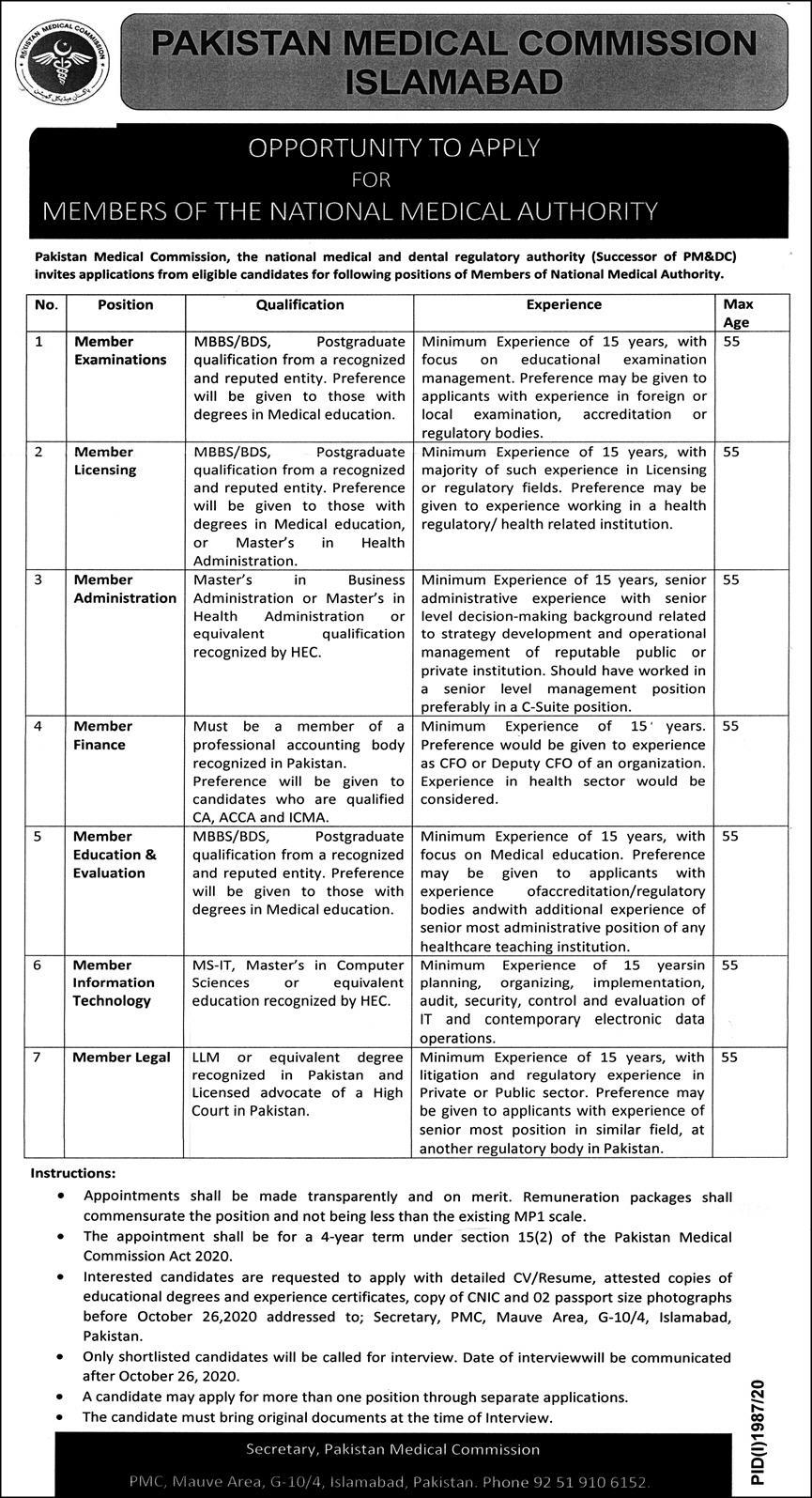 Pakistan Medical Commission PMC Jobs October 2020