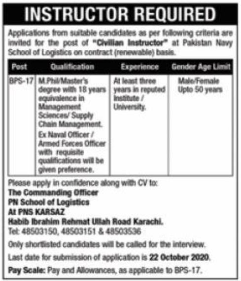 Pakistan Navy School of Logistics Jobs October 2020