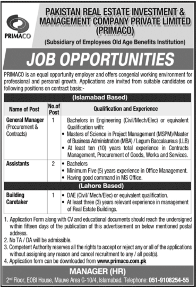 Pakistan Real Estate Investment & Management Company Private Limited PRIMACO jobs October 2020