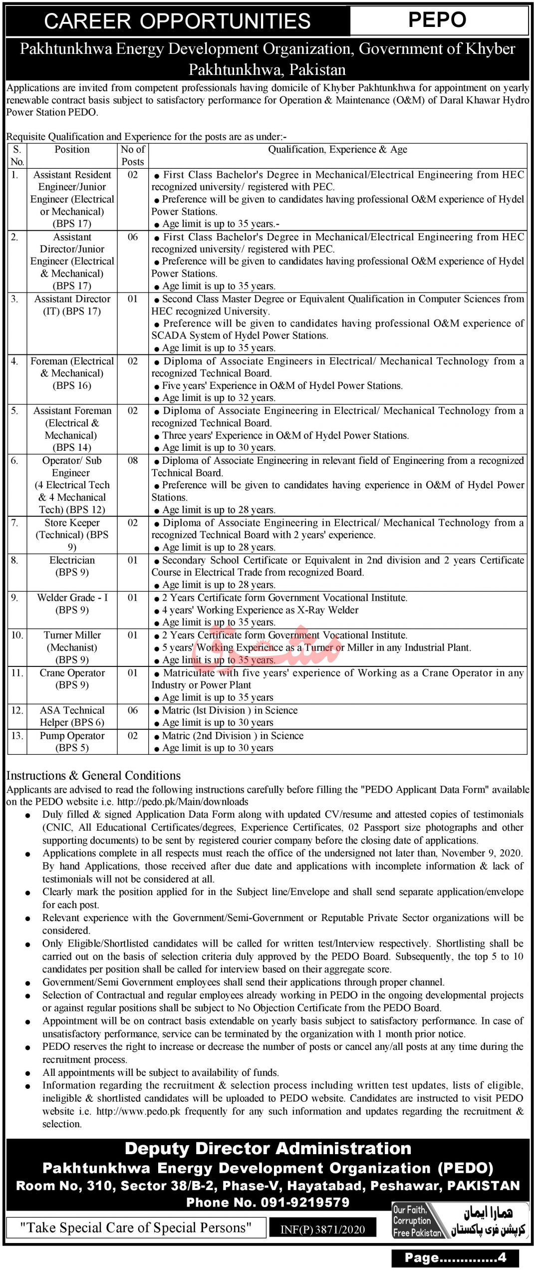 Paktunkhwa Energy Development Organization PEDO Government of Khyber Pakhtunkhwa Jobs October 2020