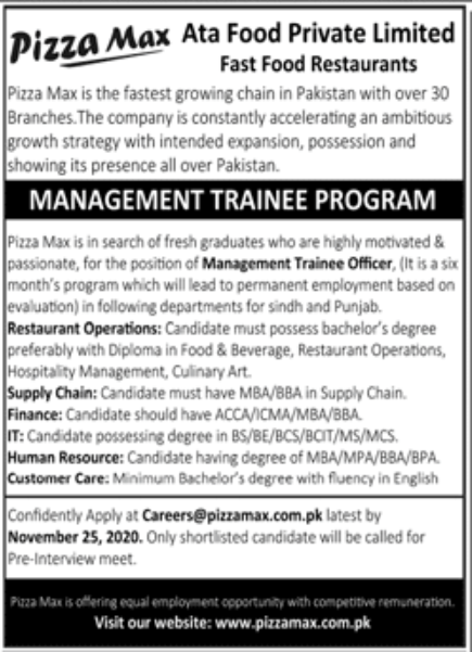 Pizza Max Ata Food Private Limited Jobs November 2020