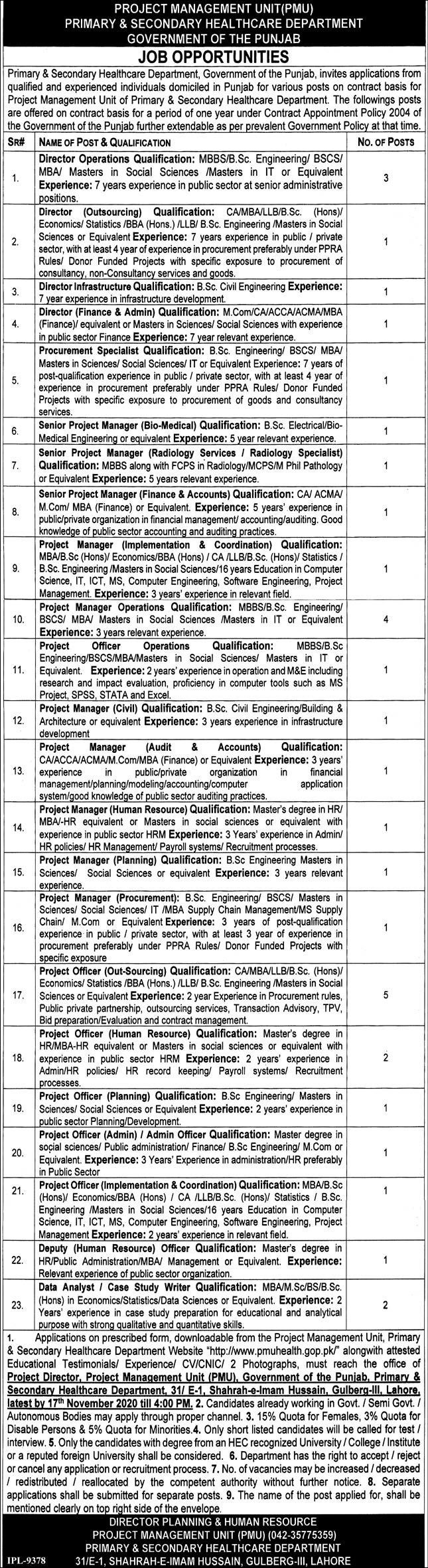 Primary & Secondary Healthcare Department Jobs October 2020