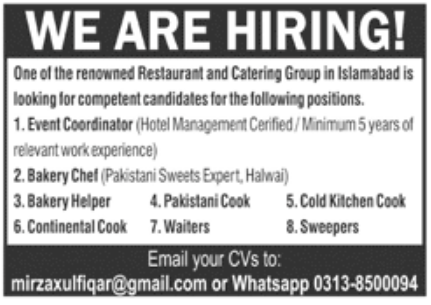 Restaurant and Catering Group Jobs October 2020