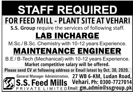 SS Feed Mills Private Limited Jobs October 2020