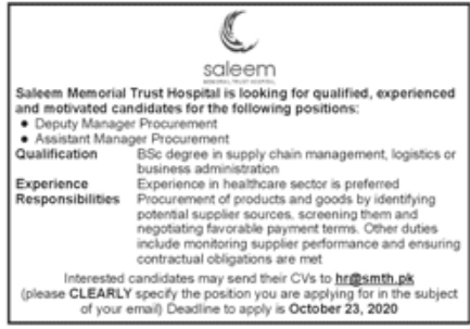 Saleem Memorial Trust Hospital Jobs October 2020