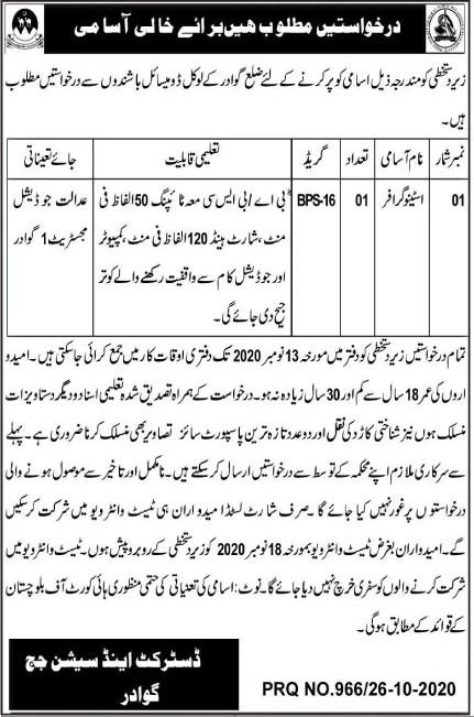 Session Court Gwadar Jobs October 2020