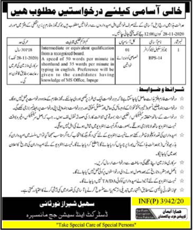 Session Court Mansehra Jobs October 2020