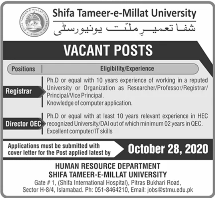 Shifa Tameer e Millat University Jobs October 2020