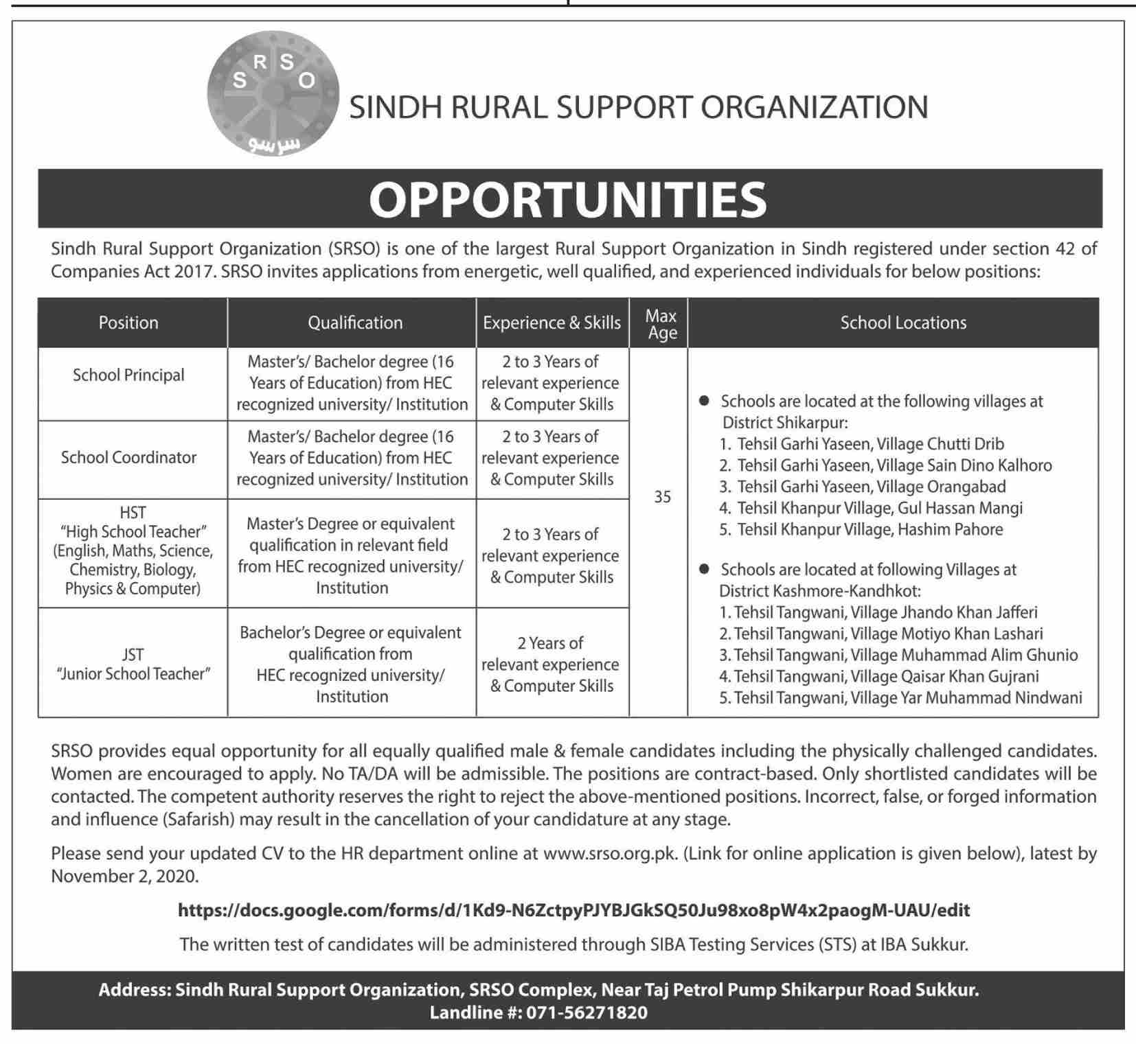 Sindh Rural Support Organization SRSO Jobs October 2020