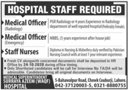Surraya Azeem Hospital Jobs October 2020