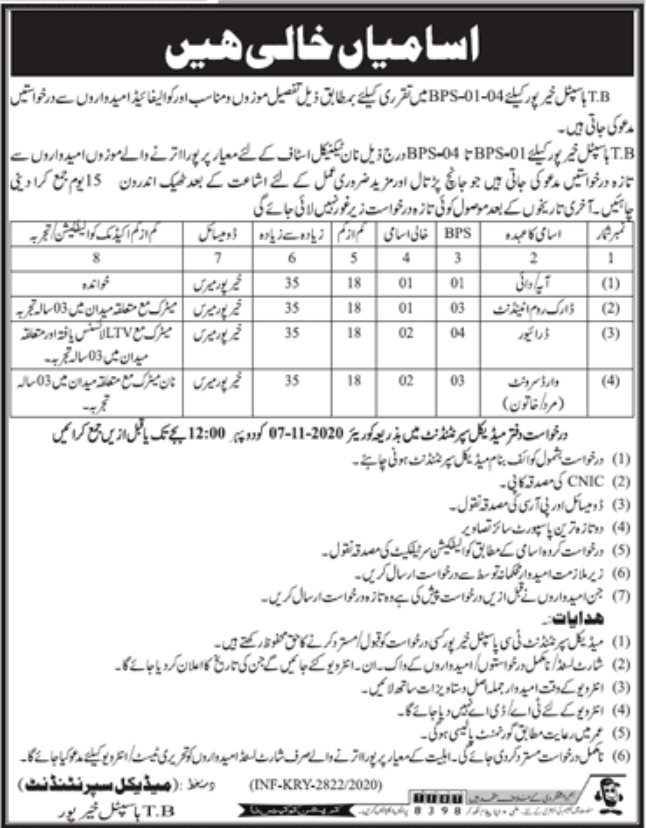TB Hospital Khairpur Jobs October 2020