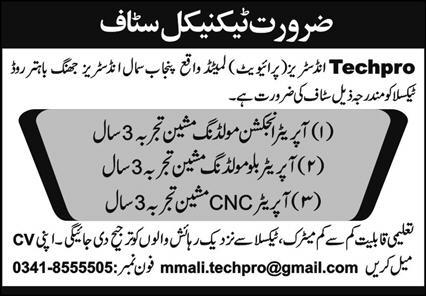 Techpro Industries Private Limited Jobs October 2020