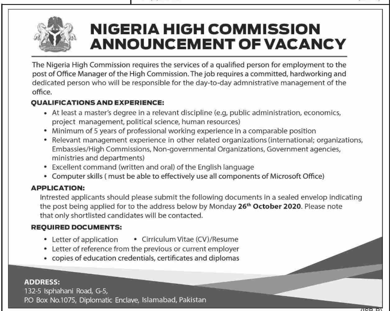 The Nigeria High Commission Jobs October 2020
