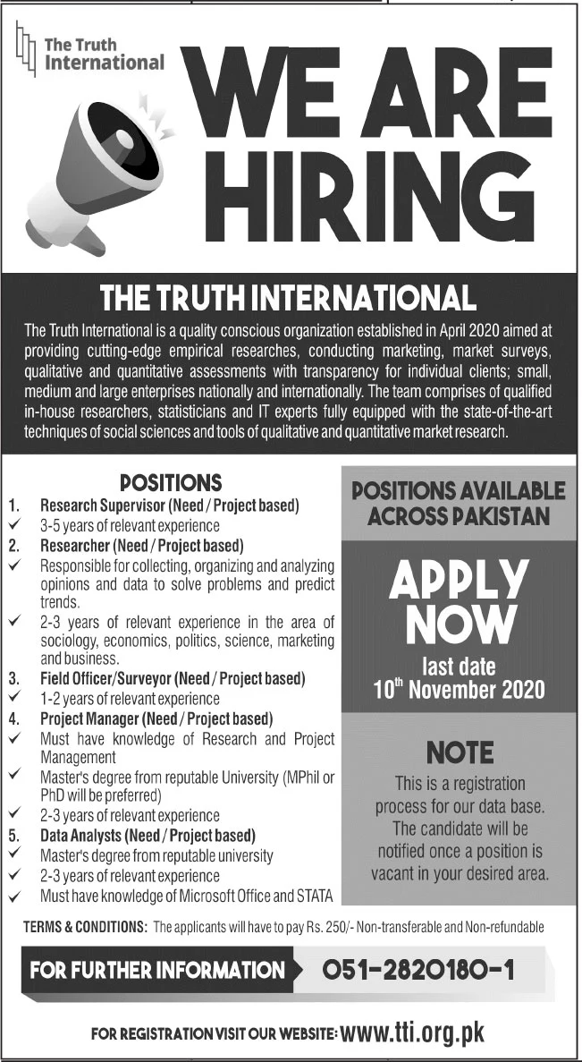 The Truth International Jobs October 2020