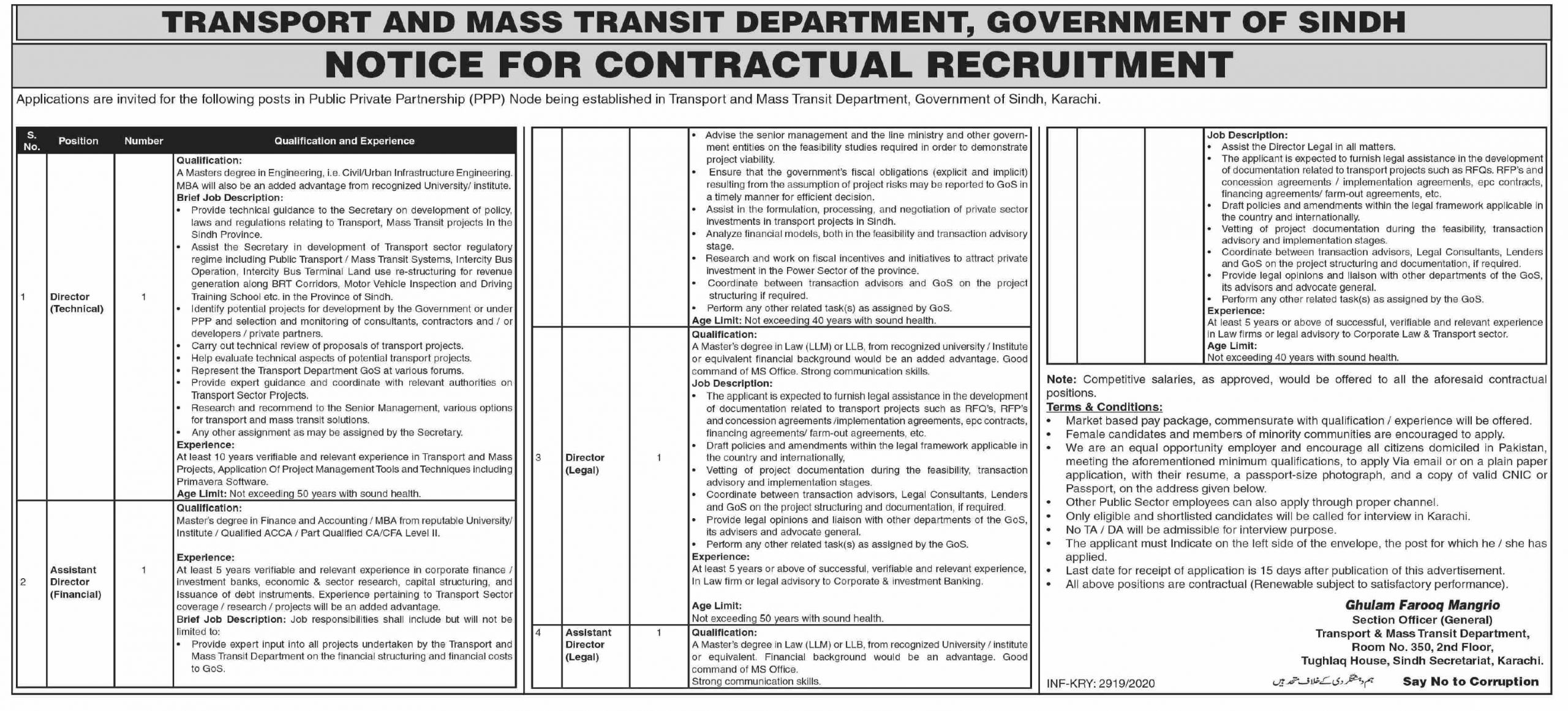 Transport and Mass Transit Department Government of Sindh Jobs October 2020