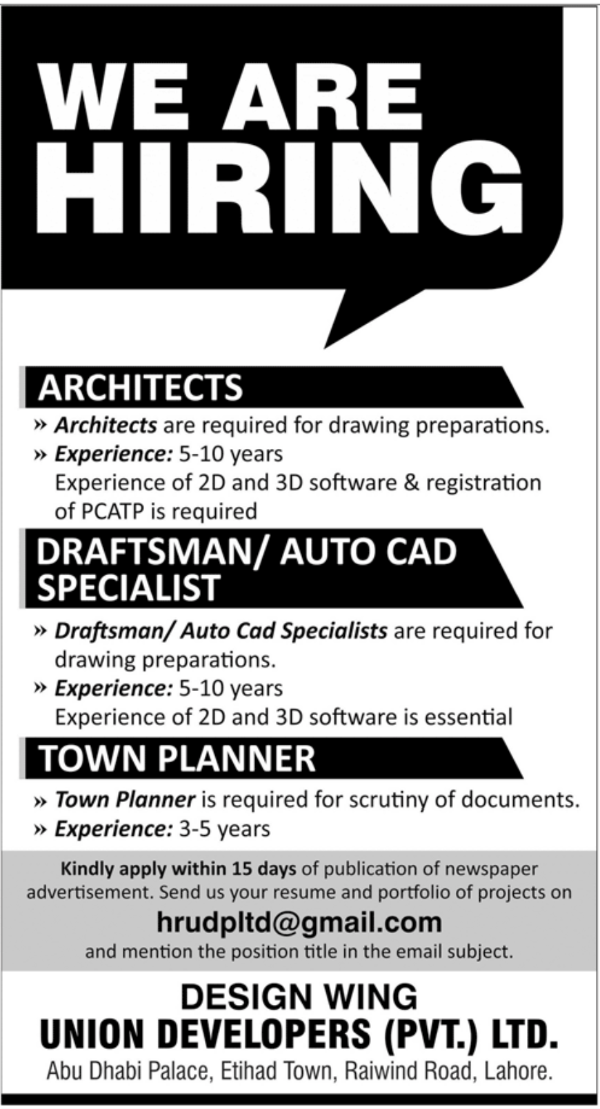 Union Developers Pvt Ltd Jobs October 2020