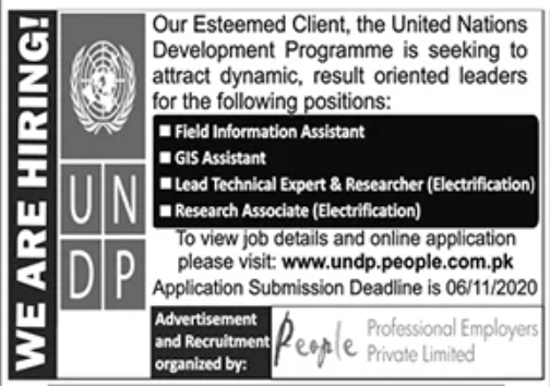 United Nations Development Programme Jobs October 2020