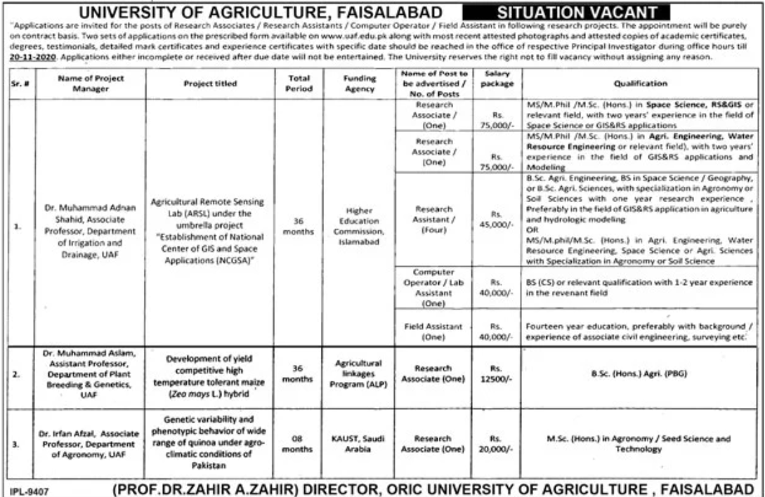 University of Agriculture Faisalabad Jobs October 2020